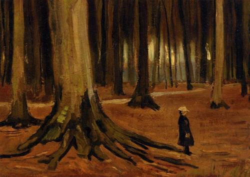 Van Gogh, girl in the woods