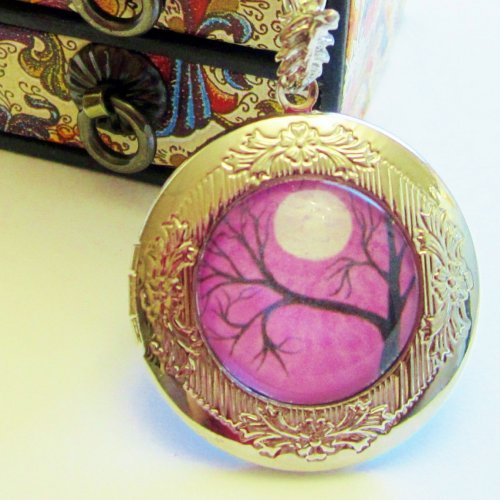 lilac_purple_tree_round_silver_locket_wearable_art_victorian_style____b9d4da65