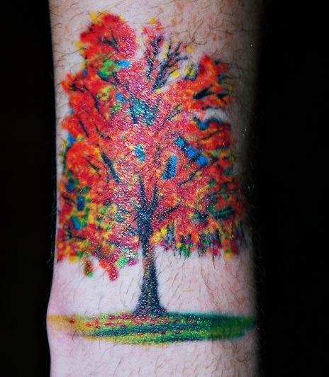 red-tree-tattoo-for-wrist