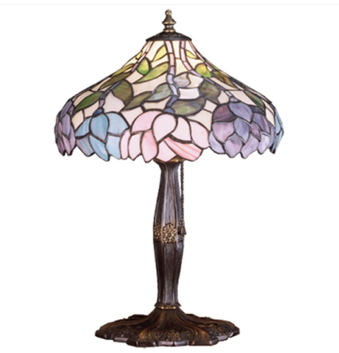 Meyda Tiffany Nightfall Wisteria Art Glass Accent Lamp