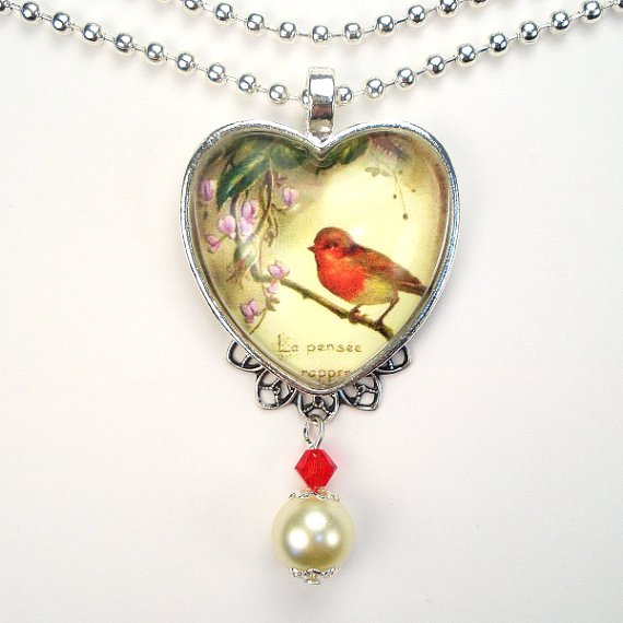 red robin perched on a wisteria branch vintage charm art glass heart pendant necklace-f49996