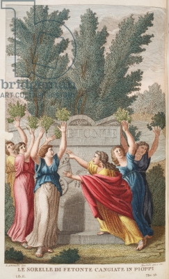 Heliades into Trees that yield Amber or Le Sorrelle die Fetonte Cangiate in Pioppi, illustration from Ovid's Metamorphoses, Florence, 1832 (hand-coloured engraving)