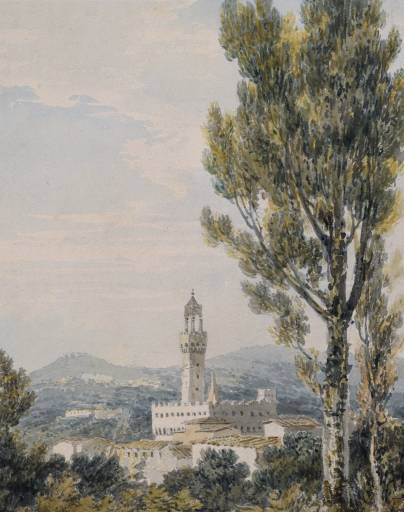 Palazzo Vecchio from the Boboli Gardens, Florence, after John Robert Cozens circa 1794-7 by Joseph Mallord William Turner 1775-1851