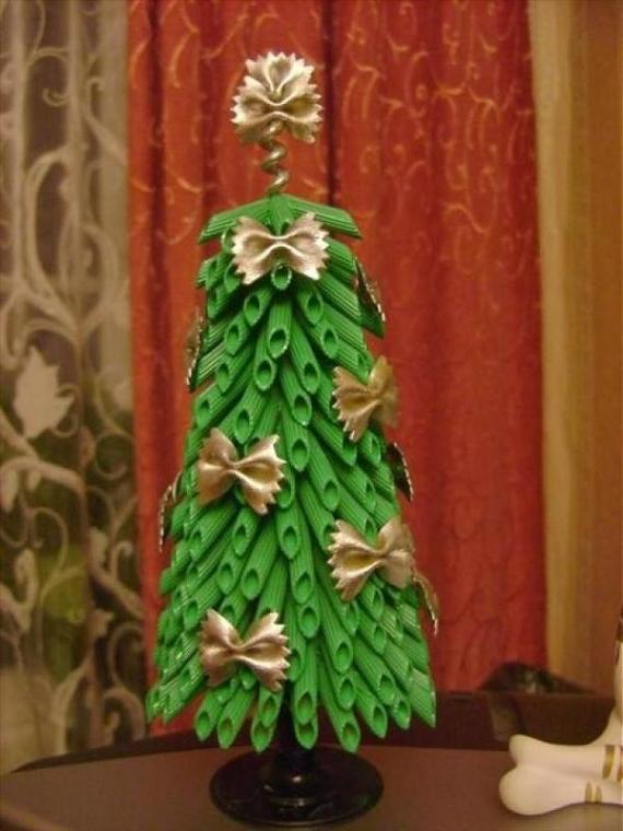 diy-tabletop-christmas-tree-green-pasta-golden-ribbons
